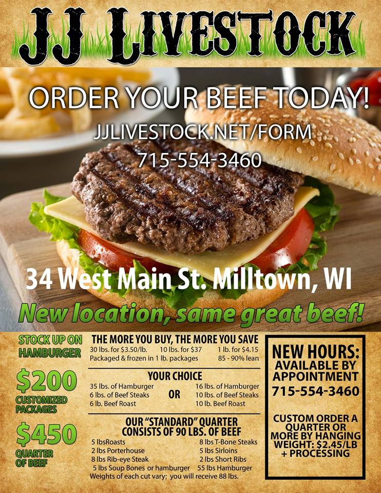 1 Page Flyer for JJ Livestock in Milltown, WI