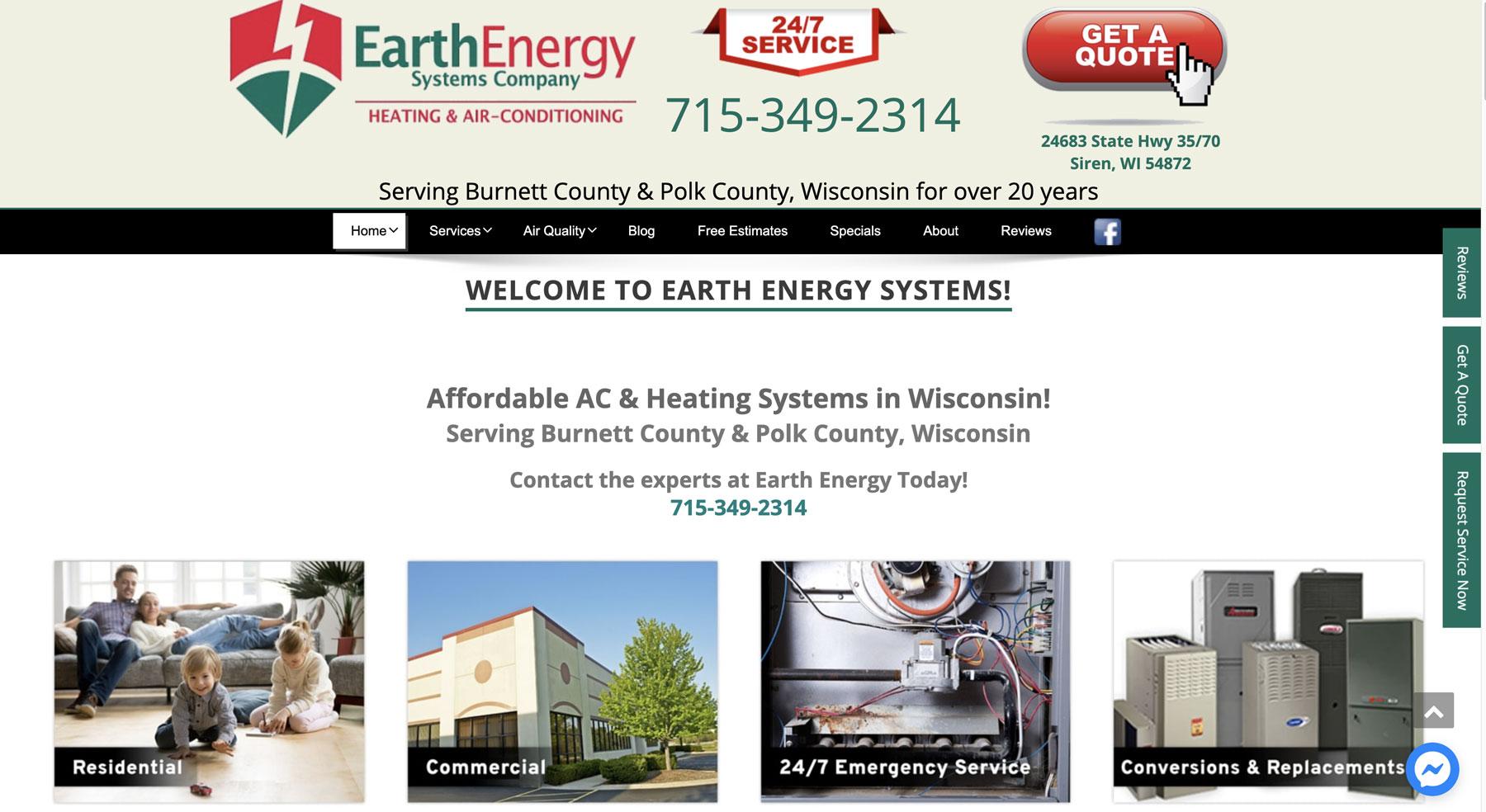 Website Design for Earth Energy in Siren, WI