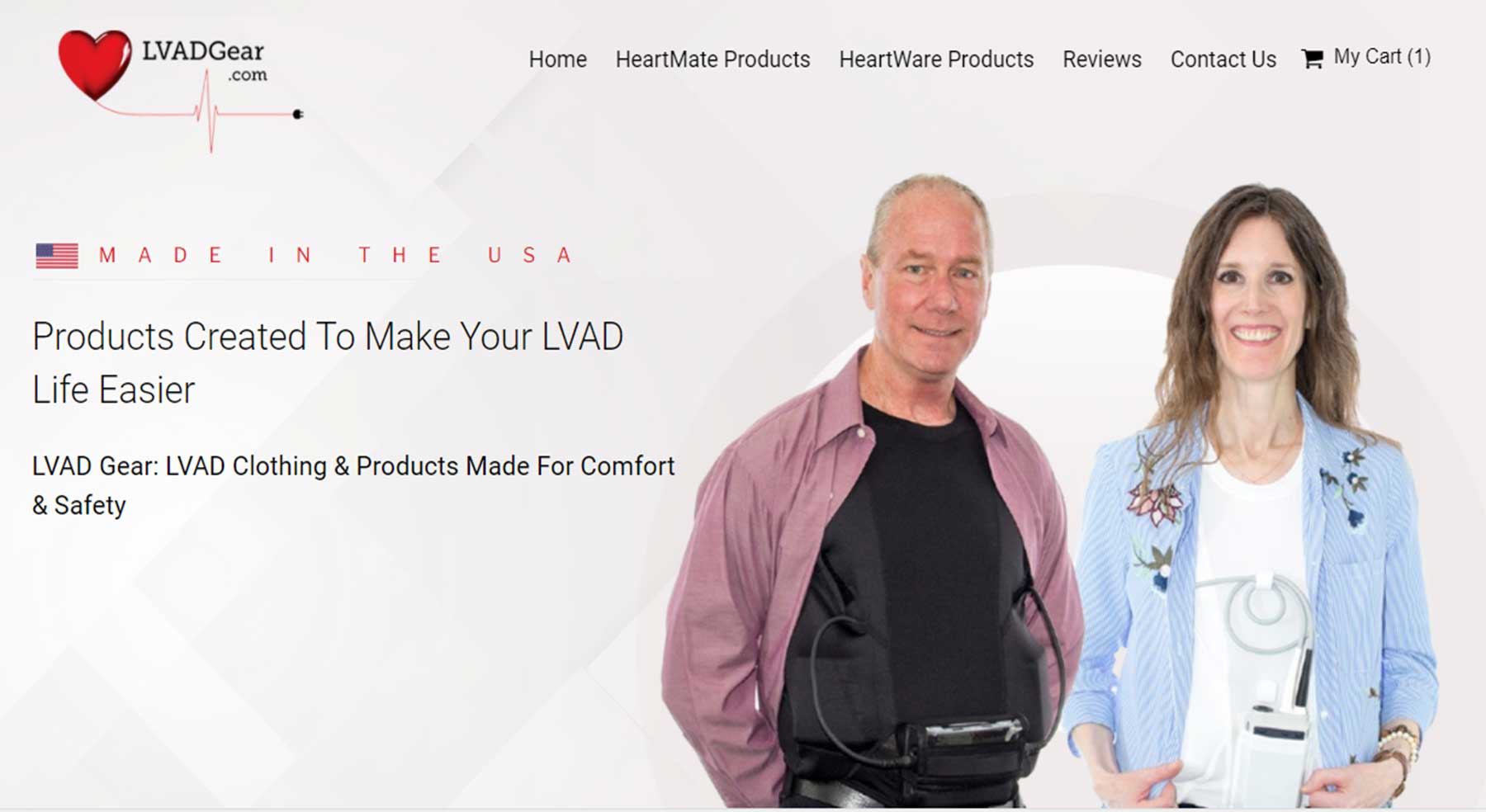 Website Design & Online Store for LVAD Clothing & Accessories