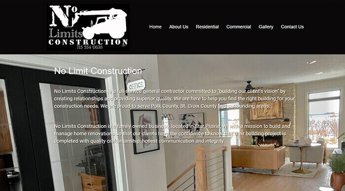 Website Design for No Limits Construction in Star Prairie, WI